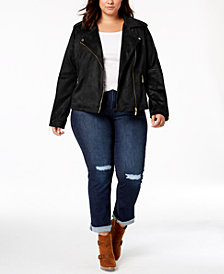 Jou Jou Juniors' Plus Size Faux-Suede Moto Jacket