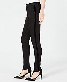 I.N.C. High-Rise Velvet-Stripe Skinny Jeans, Created for Macy's