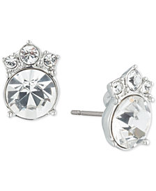 Givenchy Silver-Tone Crystal Button Earrings