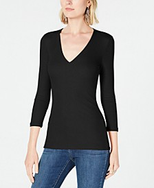 INC Long Sleeve Ribbed Top, Created for Macy's