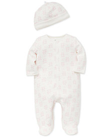 Little Me Baby Girls 2-Pc. Printed Footed Coverall & Hat Set