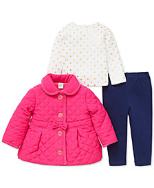 Little Me Baby Girls 3-Pc. Quilted Jacket, Printed T-Shirt & Pants Set