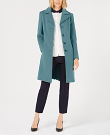 Anne Klein Petite Single-Breasted Walker Coat, Created for Macy's