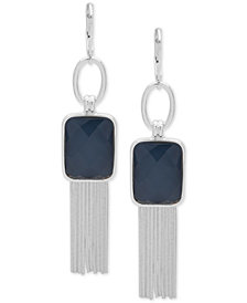 Nine West Silver-Tone Link, Stone & Tassel Drop Earrings