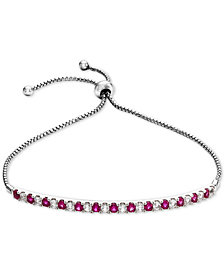 Lab-Created Ruby (5/8 ct. t.w.) & White Sapphire (5/8 ct. t.w.) Bolo Bracelet in Sterling Silver