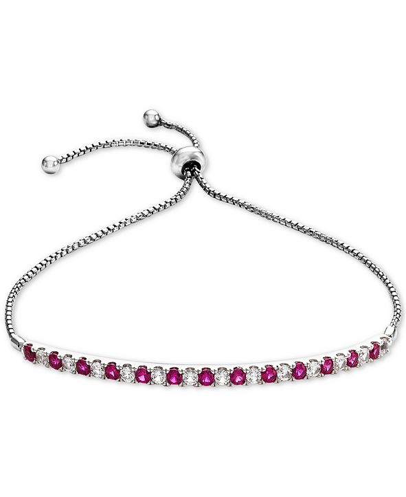 Macy's Lab-Created Ruby (5/8 ct. t.w.) & White Sapphire (5/8 ct. t.w.) Bolo Bracelet in Sterling Silver (Also available in Lab-Created Emerald, Pink Sapphire and White Sapphire)