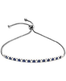 Lab-Created Sapphire (5/8 ct. t.w.) & White Sapphire (5/8 ct. t.w.) Bolo Bracelet in Sterling Silver