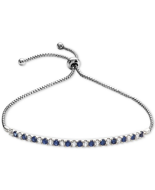 Macy's Lab-Created Sapphire (5/8 ct. t.w.) & White Sapphire (5/8 ct. t.w.) Bolo Bracelet in Sterling Silver