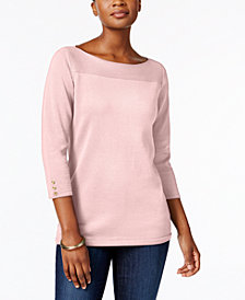 Karen Scott Petite Boat-Neck Cotton Sweater