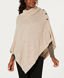 Karen Scott Ribbed-Knit Cowl-Neck Poncho, Created for Macy's