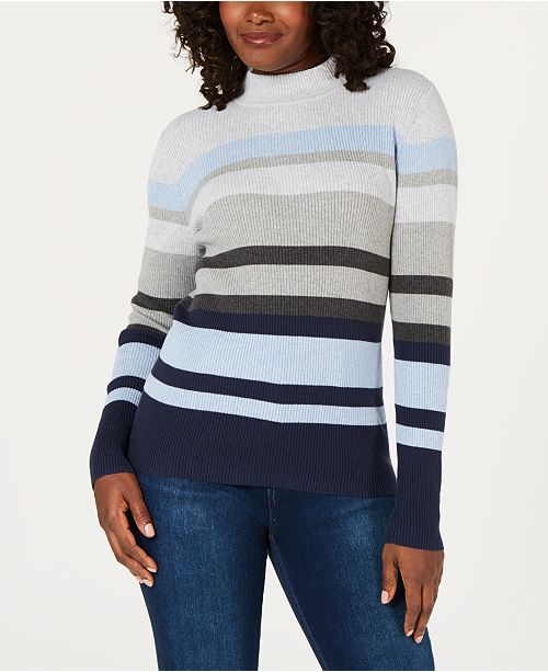 b386520049 ... Karen Scott Cotton Striped Mock-Turtleneck Sweater
