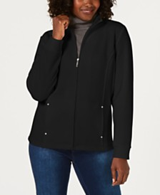 Karen Scott French Terry  Zipper Mock-Neck Jacket, Created for Macy's