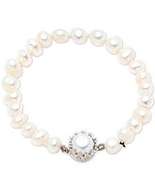 Carolee Silver-Tone Crystal & Freshwater Pearl (8mm) Magnetic Flex Bracelet