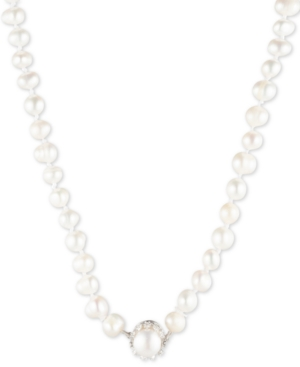 """Carolee SILVER-TONE CRYSTAL & FRESHWATER PEARL (8MM) 18"""" COLLAR NECKLACE"""