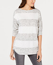 Style & Co Colorblock-Stripe Boat-Neck Top, Created for Macy's