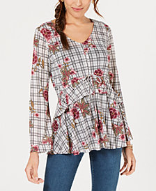 Style & Co Printed Flounced Top, Created for Macy's