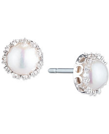 Carolee Silver-Tone Crystal & Freshwater Pearl (10mm) Filigree Stud Earrings