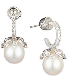 Carolee Silver-Tone Crystal & Freshwater Pearl (10mm) Drop Earrings