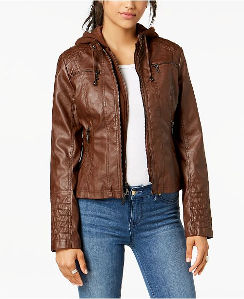 bae9fa178ba Maralyn   Me Juniors  Hooded Faux-Leather Moto Jacket   Reviews ...