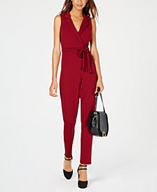 Almost Famous Juniors' Blazer-Style Wrap Jumpsuit