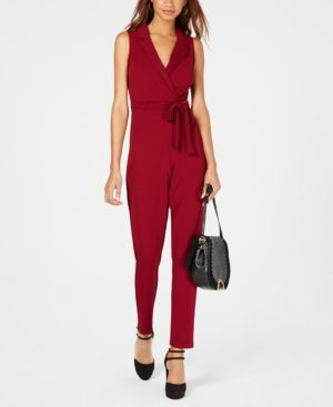 ALMOST FAMOUS Juniors' Blazer-Style Wrap Jumpsuit in Wine