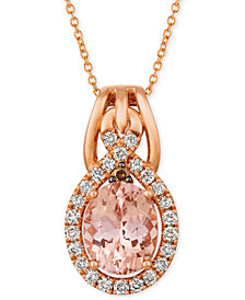 "Le Vian® Morganite (1-3/4 ct. t.w.) & Diamond (3/8 ct. t.w.) 18"" Pendant Necklace in 14k Rose Gold"