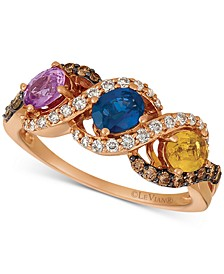 Multi-Gemstone (1-1/8 ct. t.w.) & Diamond (1/5 ct. t.w.) Ring in 14k Rose Gold