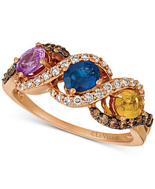 Le Vian® Multi-Gemstone (1-1/8 ct. t.w.) & Diamond (1/5 ct. t.w.) Ring in 14k Rose Gold