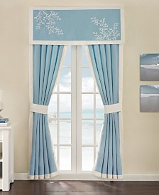 "Harbor House Coastline Cotton Embroidered 48"" x 18"" Rod-Pocket Window Valance"