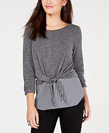 BCX Juniors' Ruched 3/4-Sleeve Layered-Look Top