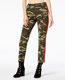 Waisted Cotton Camo-Print Tuxedo Pants