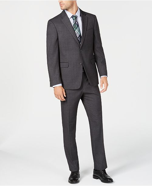 Tommy Hilfiger Men's Modern-Fit THFlex Stretch Gray Windowpane Suit
