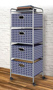 4-Drawer Storage Cart, Blue Bins