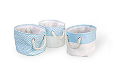 3-Pack Chevron Bins, Blue