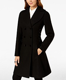 Double-Breasted Side-Corset Walker Coat