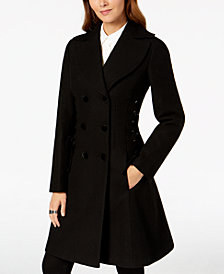 GUESS Double-Breasted Side-Corset Walker Coat