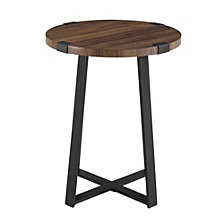 "18"" Metal Wrap Round Side Table - Dark Walnut"