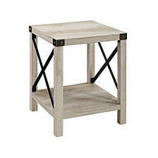 "18"" Industrial Metal X Accent Side Table - White Oak"