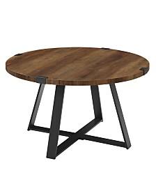 "30"" Metal Wrap Round Coffee Table - Rustic Oak/Black"