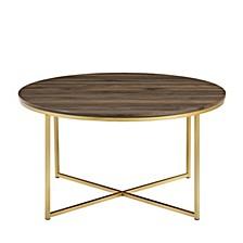 "36"" Coffee Table with X-Base - Dark Walnut/Gold"