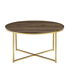 "36"" Coffee Table with X-Base - Dark Walnut/Gold"