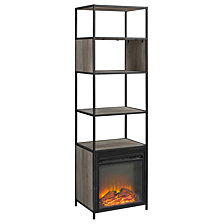 "70"" Metal and Wood Tower Fireplace - Grey Wash"
