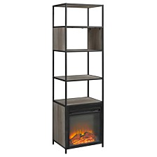 """70"""" Metal and Wood Tower Fireplace - Grey Wash"""