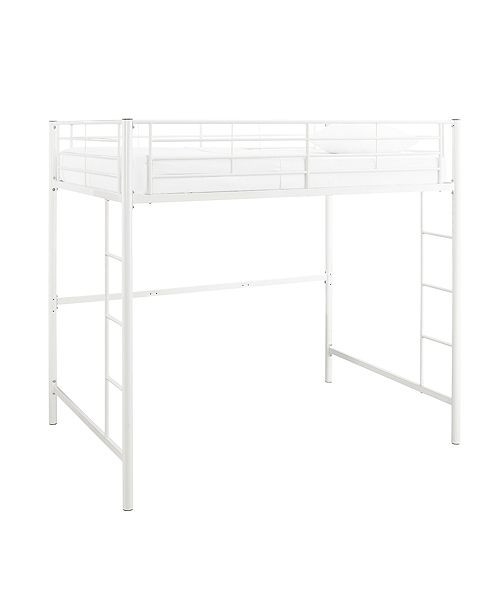Walker Edison Premium Metal Full Size Loft Bed - White