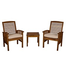 Outdoor Classic Acacia Wood Patio Chairs and Side Table - Dark Brown