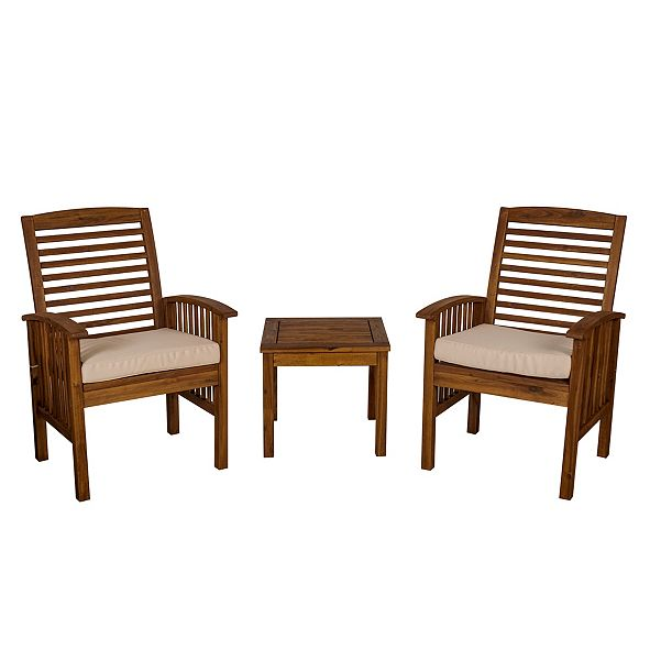 Walker Edison Outdoor Classic Acacia Wood Patio Chairs and Side Table - Dark Brown