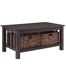 "40"" Wood Storage Coffee Table with Totes - Espresso"
