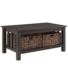 """40"""" Wood Storage Coffee Table with Totes - Espresso"""