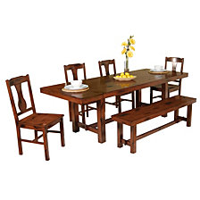 6-Piece Traditional Distressed Dark Oak Wood Kitchen Dining Set