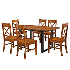 7-Piece Rustic Wood Kitchen Dining Set - Antique Brown